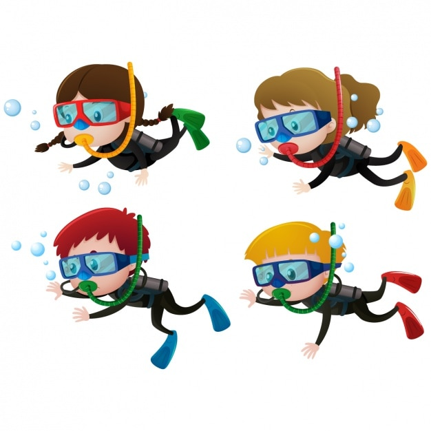 Kids practising diving Free Vector
