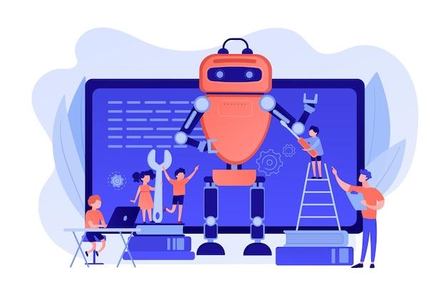Дети программируют и создают роботов в классе, крохотные человечки. инженерия для детей, научная деятельность, концепция классов раннего развития. розовый коралловый синий вектор изолированных иллюстрация Бесплатные векторы