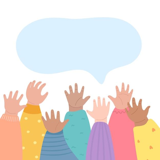 Дети поднимают руки вверх. многие дети вооружаются. Premium векторы