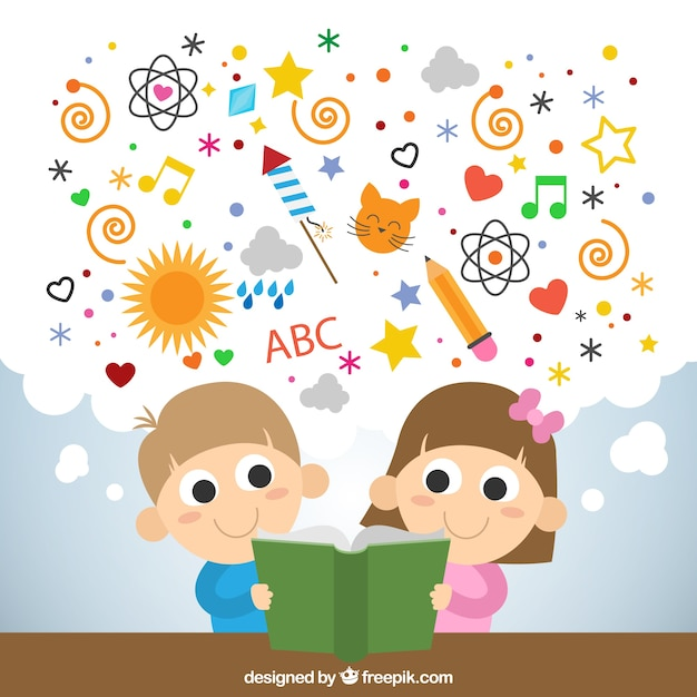 Kids reading a imaginative book Vector | Free Download
