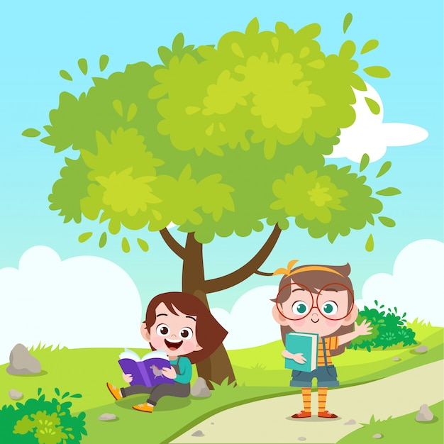 Kids reading a book the park vector illustration Premium Vector
