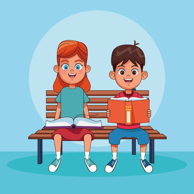 Kids reading books cartoons Premium Vector