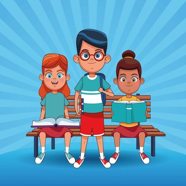 Kids reading books cartoons Premium Vector