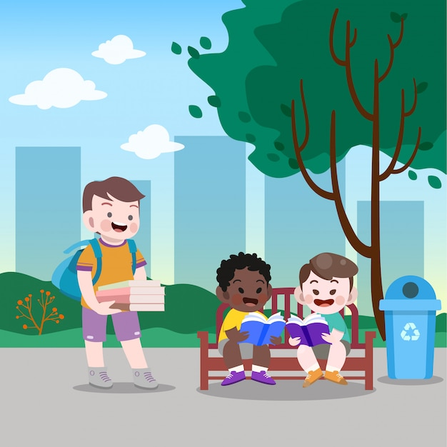 Kids reading in the park vector illustration Premium Vector