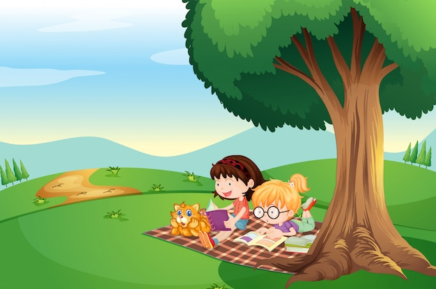 Kids reading under the tree with a cat Free Vector