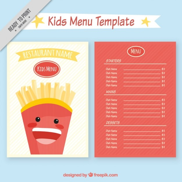 Elegant Kids Restaurant Menu Template Free Vector Intended Free Kids Menu Templates