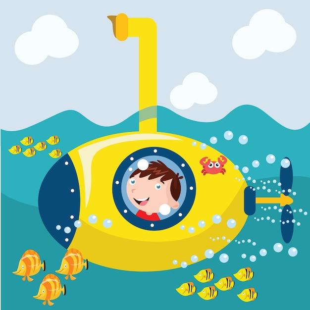 Kids ride submarine cartoon illustration Vector | Premium ...