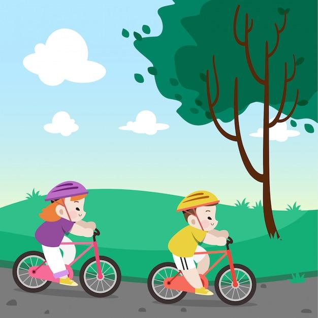 Kids riding bicycle vector illustration Premium Vector