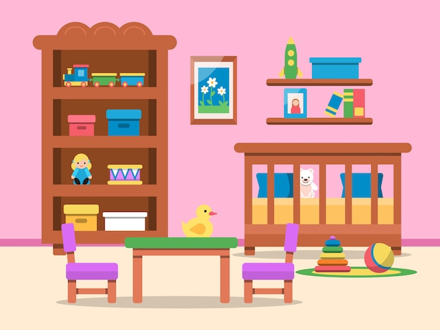 Kids room interior with bed, table and various toys Premium Vector