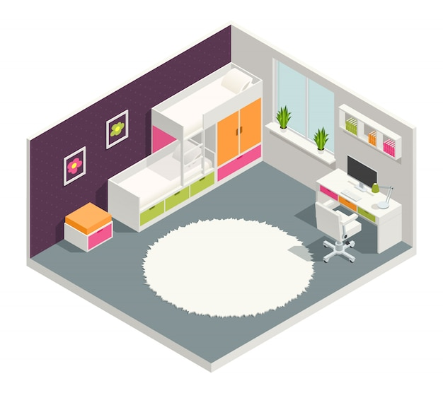 Kids room isometric composition with bed desk and carpet Free Vector