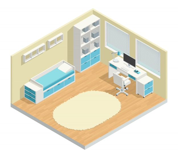 Kids room isometric composition with computer chair and lamp Free Vector