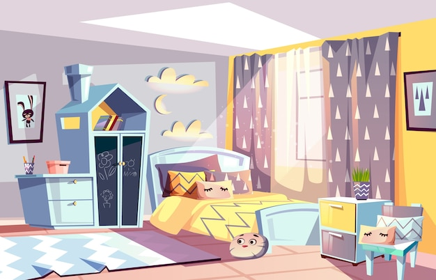 Kids room modern interior illustration of bedroom furniture in scandinavian style. Free Vector