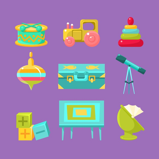Kids room objects collection Premium Vector