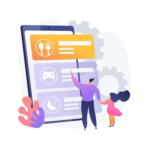 Дети рутинного приложения абстрактная концепция иллюстрации. мобильное приложение для детей, приложение для новорожденных, программное обеспечение перед сном для малышей, решение для расписания детей, отслеживание активности Бесплатные векторы