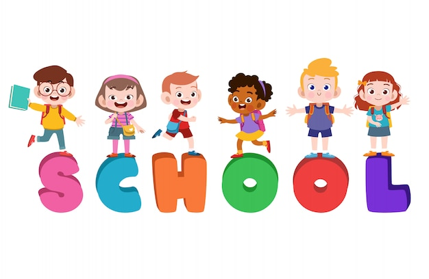 Kids school poster Premium Vector