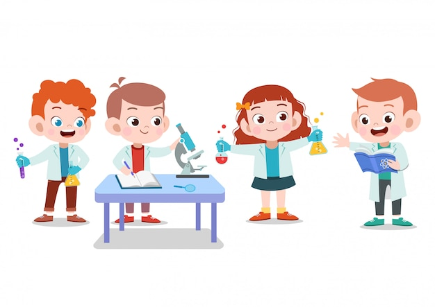 Исследование детей ученого Premium векторы