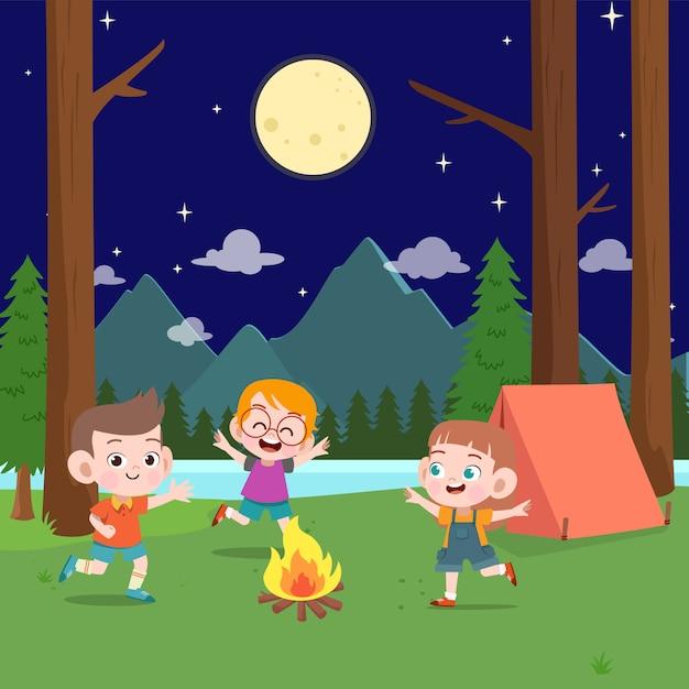 Kids scouts at camp illustration Premium Vector