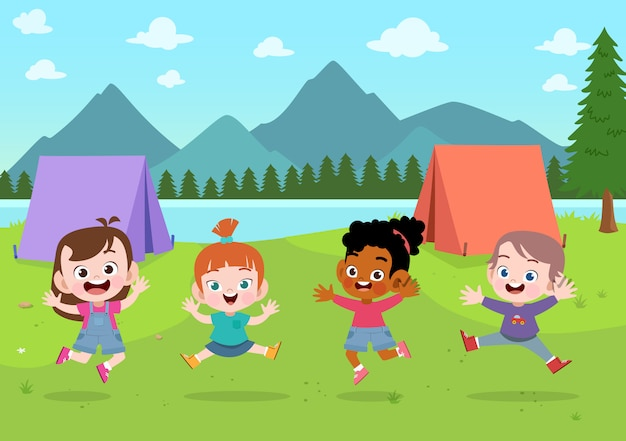 Kids scouts at camp illustration Premium Vector