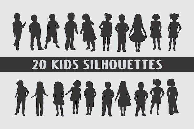 Kids silhouettes in different poses set of shapes Premium Vector