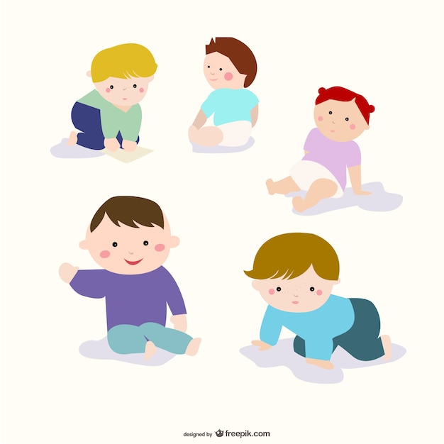 kids sitting with different colors hair Free Vector