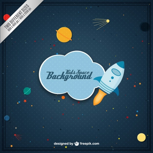 kids space background vector free download
