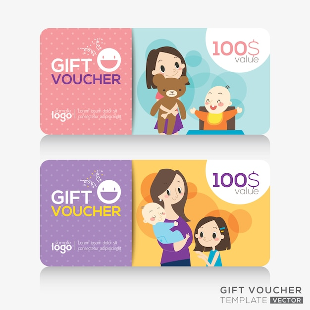 Kids store coupon voucher or gift card design template Premium Vector