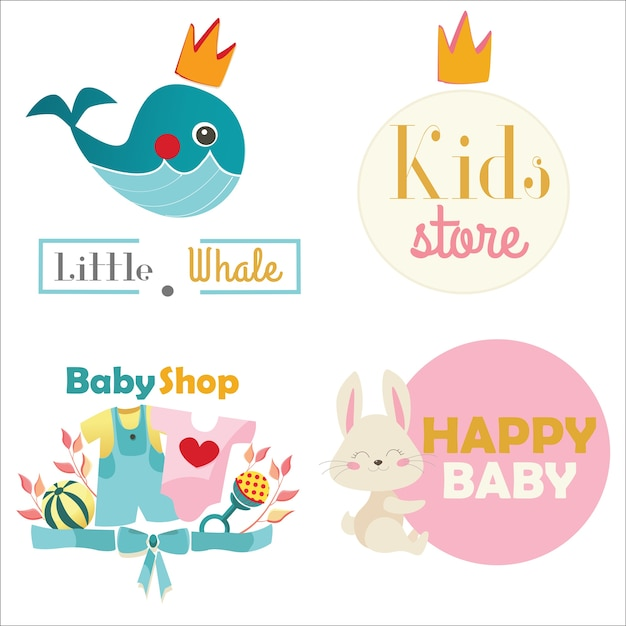 bb5e04fdd Kids store or toy shop logo set. vector illustration Vector ...