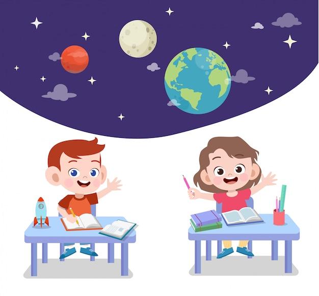 Kids study astronomy Premium Vector