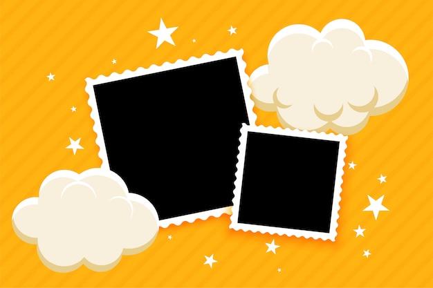 Детские фоторамки с облаками и звездами Бесплатные векторы