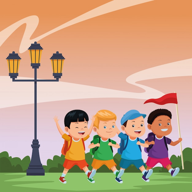 Kids and summer camp cartoons Free Vector