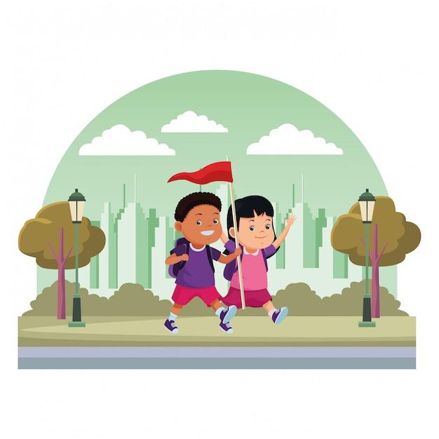 Kids and summer camp cartoons Premium Vector