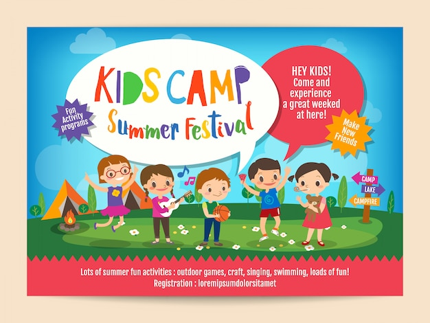 Kids summer camp education poster flyer Premium Vector