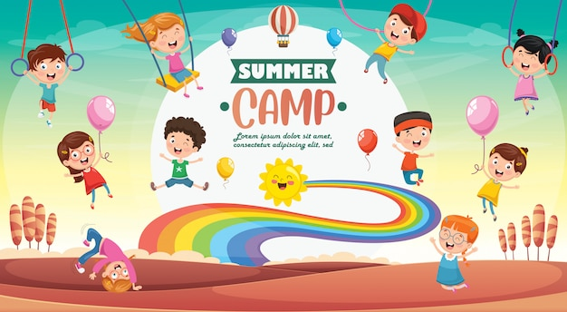 Kids summer camp Premium Vector