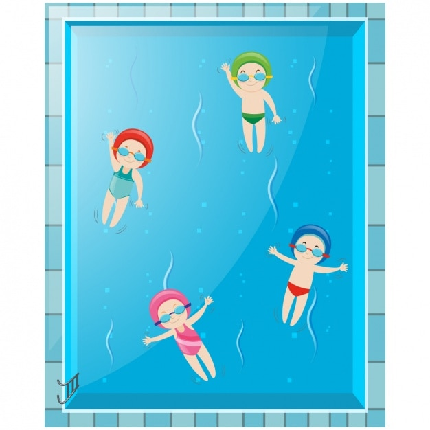 Kids swimming at the pool Free Vector