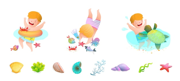 Kids swimming at sea with sea turtle, fish, sea star, octopus, sea shells. funny cute cartoon. Premium Vector
