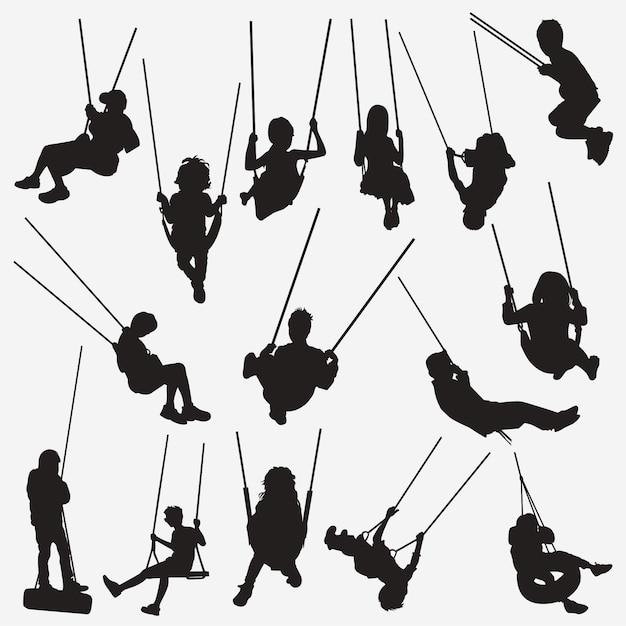 Kids swing silhouettes Premium Vector