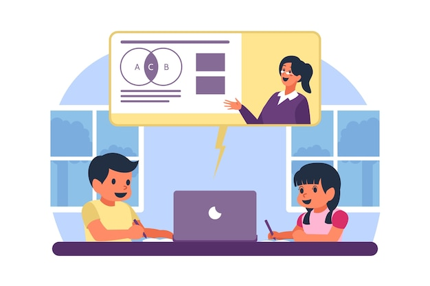 Kids taking online lessons Free Vector
