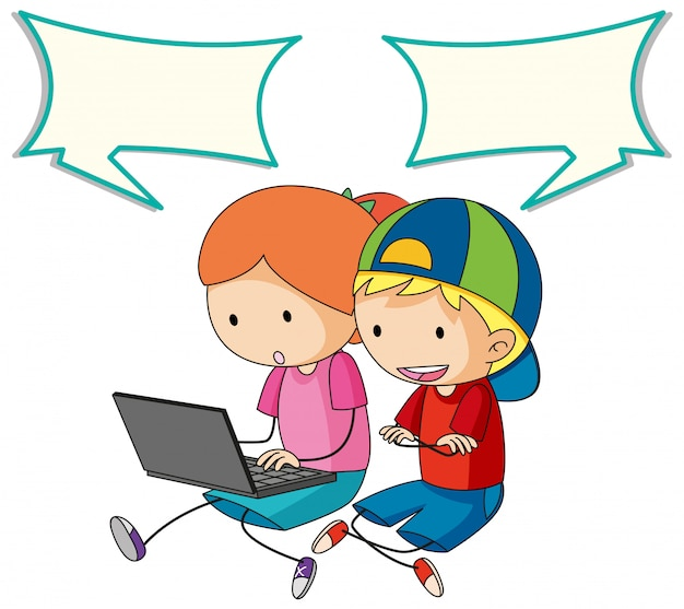 Kids talking with computer and speech bubble Free Vector