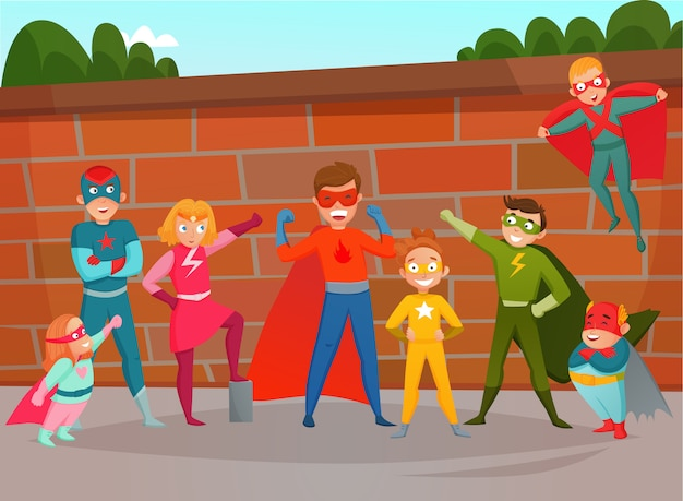 Kids team superheroes composition Free Vector