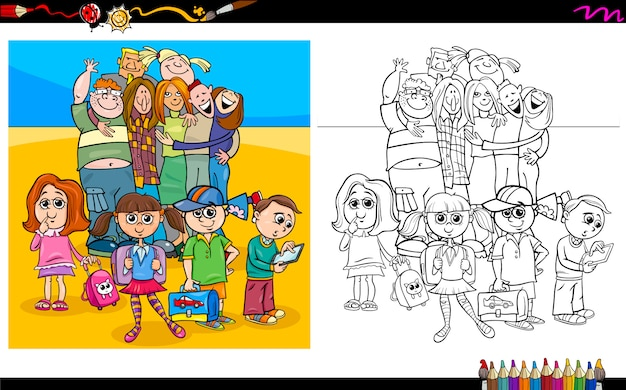 Kids and teen characters coloring book Premium Vector