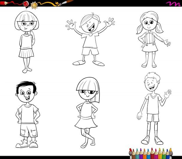 Kids or teen characters set coloring book Premium Vector