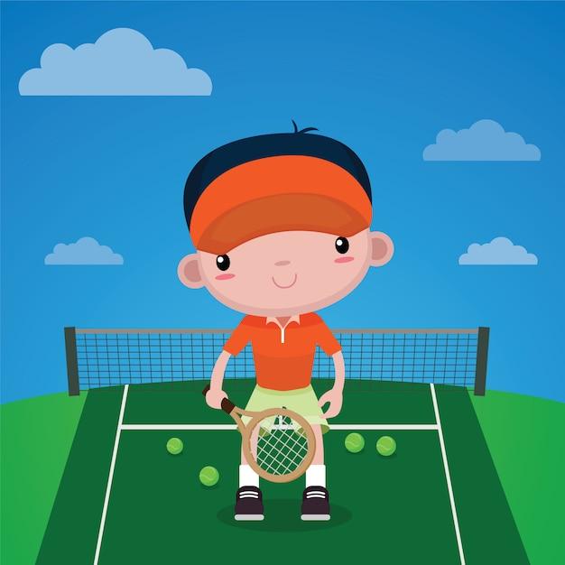 Kids tennis player Premium Vector