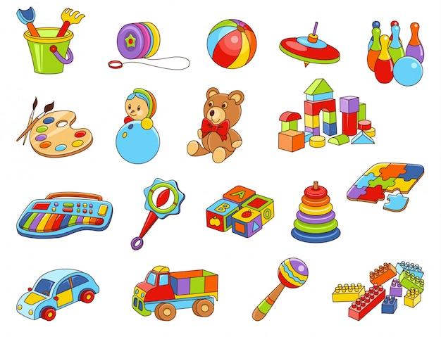 Kids toy icon collection Premium Vector