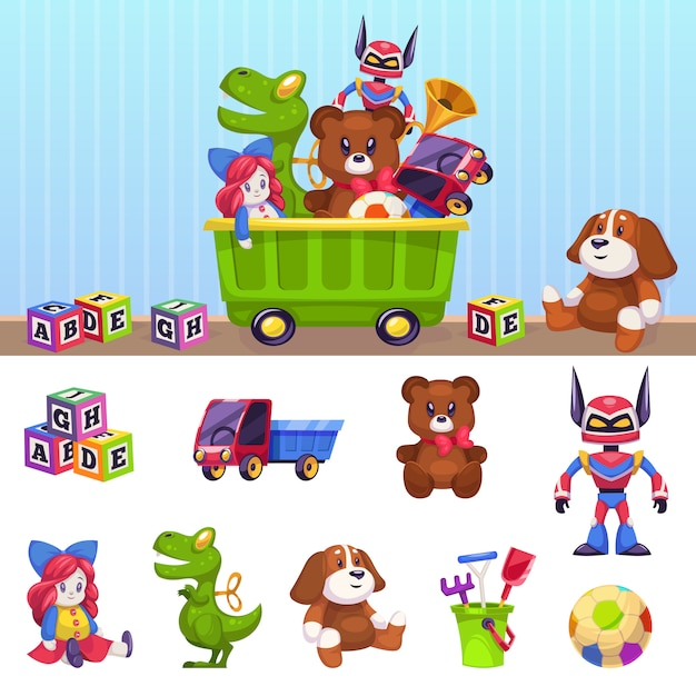 Kids Toys Box Children Toy Container With Playing Blocks Cars