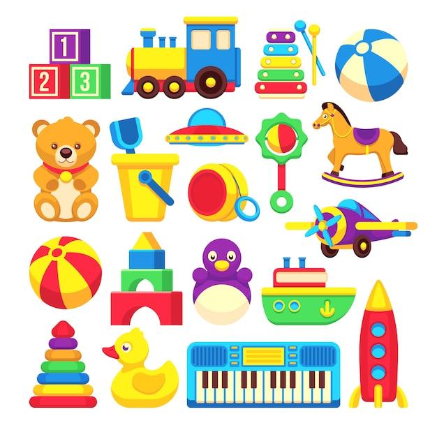 Kids toys cartoon vector icons collection Premium Vector