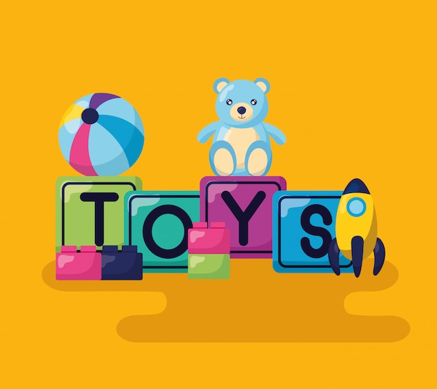 Kids toys design Free Vector