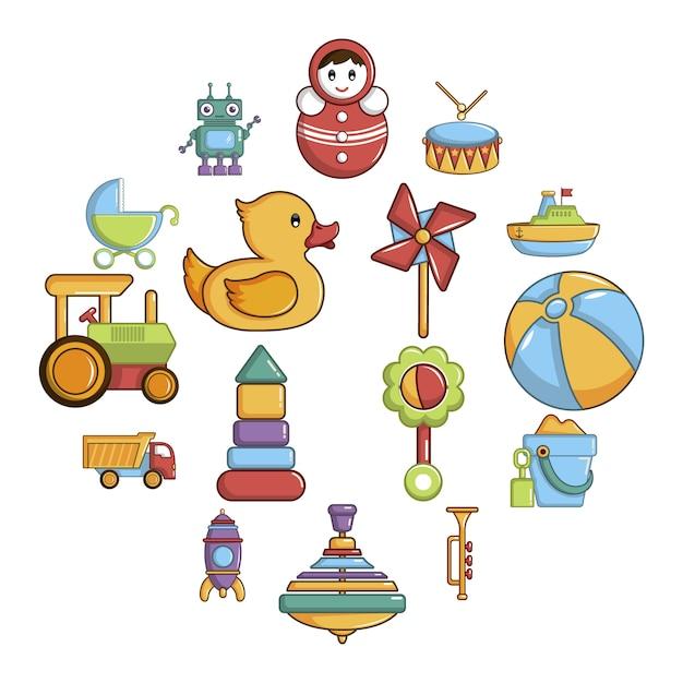 Kids toys icon set, cartoon style Premium Vector
