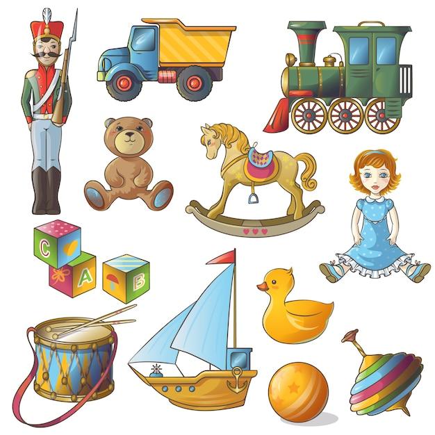 Набор игрушек для детских игрушек Бесплатные векторы