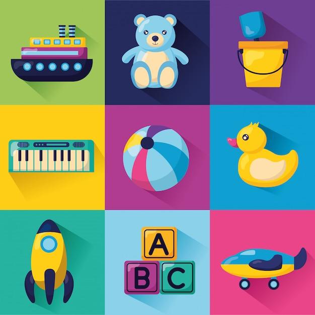 Kids toys illustration Free Vector