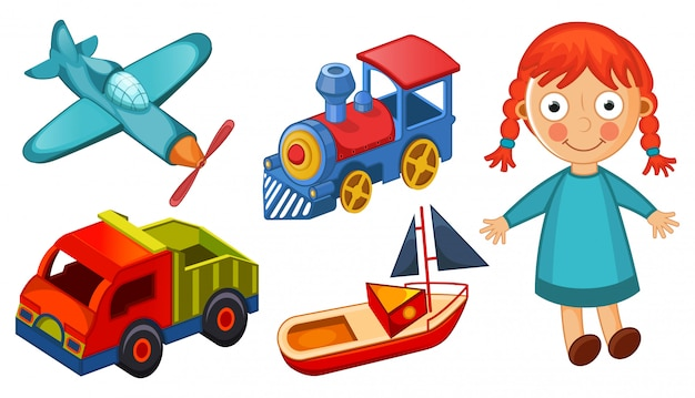Kids toys isolated on white background illustration Premium Vector